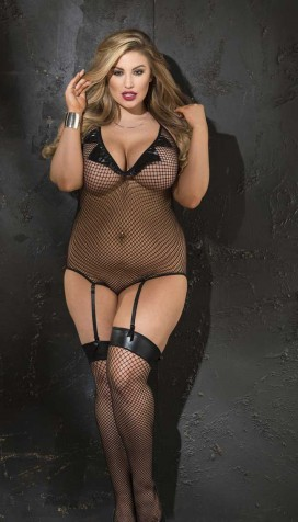 STRETCH FISHNET AND PATENT LEATHER GARTERED TEDDY AND STOCKING SET