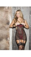 GARTERED CHEMISE  TAPESTRY AND STRETCH MESH OPEN BUST