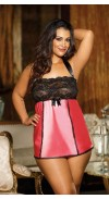 ADORABLE STRETCH CHARMEUSE AND STRETCH LACE CHEMISE
