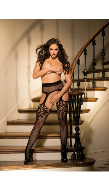 FISHNET AND LACE SUSPENDER PANTYHOSE