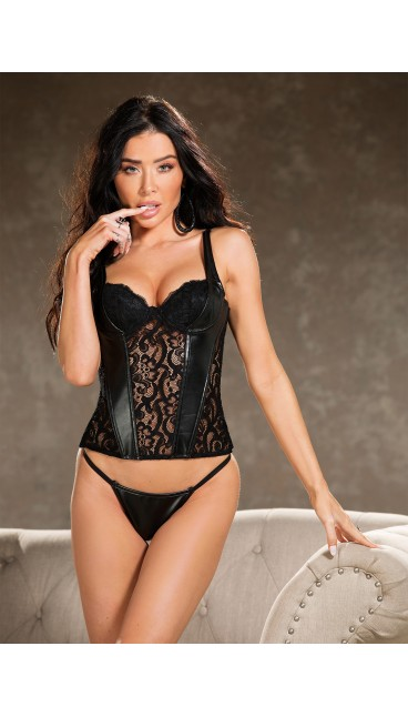 Faux Leather, Stretch Lace CORSET TOP