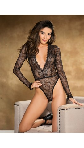Eyelash Lace TEDDY with long sleeves