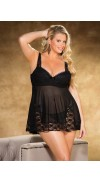Lace and Mesh PADDED CUP BABY DOLL