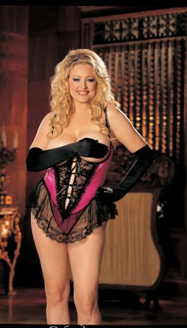 SATIN AND LACE OPEN BUST, CROTCHLESS TEDDY