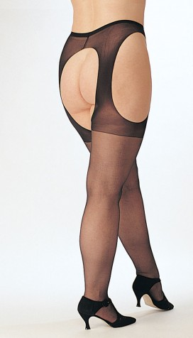 SHEER STRETCH NYLON SUSPENDER PANTY HOSE