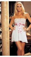 TIE-FRONTSTRETCHLACEAND MESH BABYDOLL