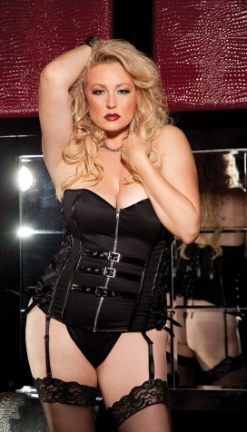 STRETCH TWILL AND PATENT LEATHER STRAPLESS CORSET