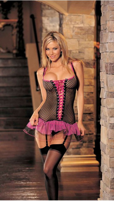 BIG HOLE FISHNET AND TULLE BUSTIER, G-STRING AND STOCKINGS 3 PC SET