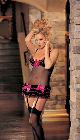 STRETCH SHEER MESH WITH RUFFLES AND BOWS CHEMISE AND STOCKINGS SET