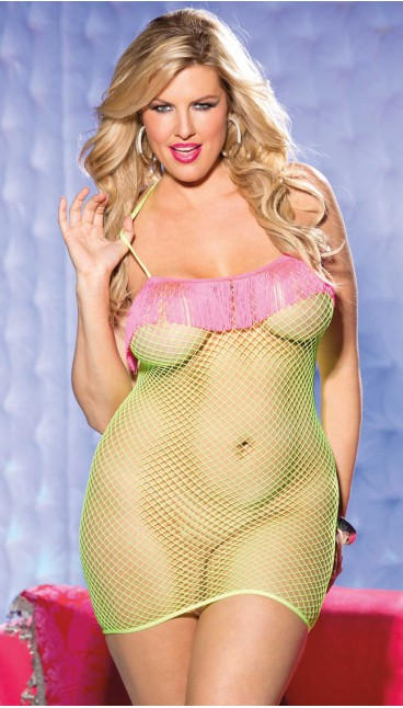 NEON STRETCH FISHNET CHEMISE