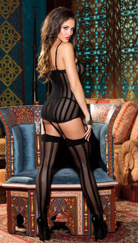 3 PIECE STRIPE FISHNET SET