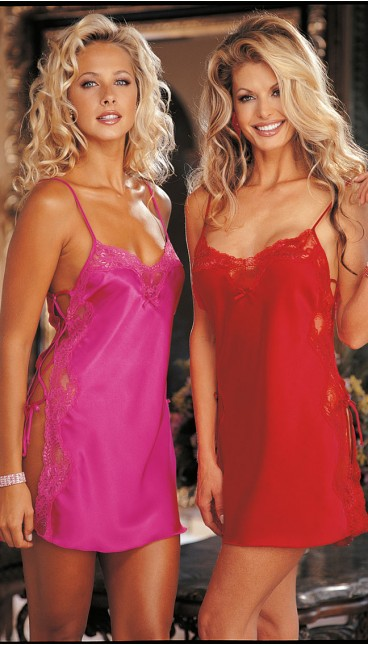 CHARMEUSE AND DYED-TO-MATCH LACE CHEMISE
