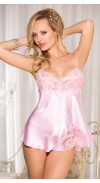 CHARMEUSE AND DYED TO MATCH LACE BABYDOLL