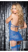STRETCH LACE OPEN BUST GARTERED CHEMISE